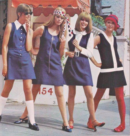 1960s Dresses navy blue white nautical mini color photo print ad model magazine
