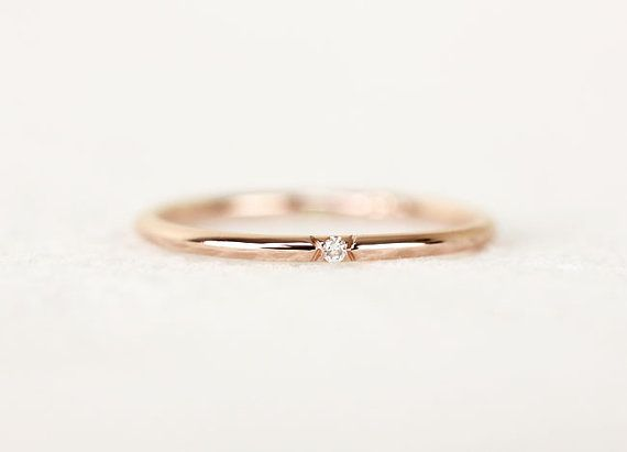 Single Diamond Gold Wedding Band Stackable Dainty by KHIMJEWELRY