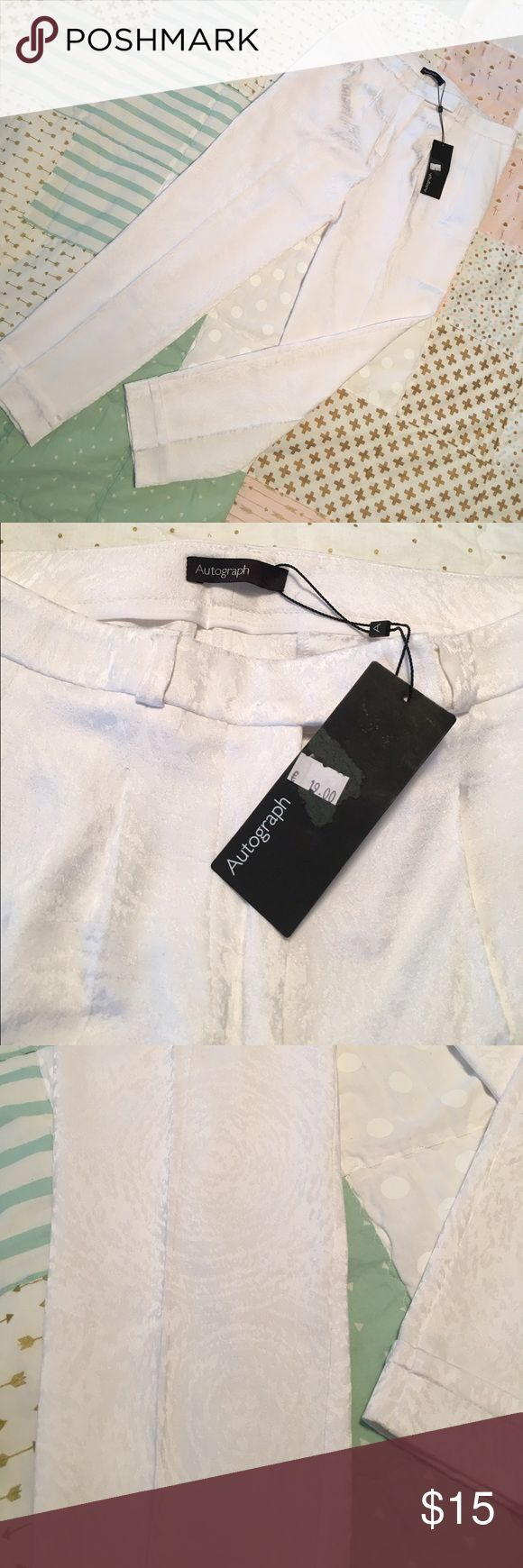 "Autograph by Marks & Spencer White Cropped Trouser Purchased in Greece at Marks and Spencer and never worn. 🇬🇷 Size 10 UK is 8 in USA. NWT 49% Viscose 48% Polyester 3% Elastane.  Length is 24 1/4"" and Waist is 14 1/2"" Autograph by Marks and Spencer Pants Ankle & Cropped"