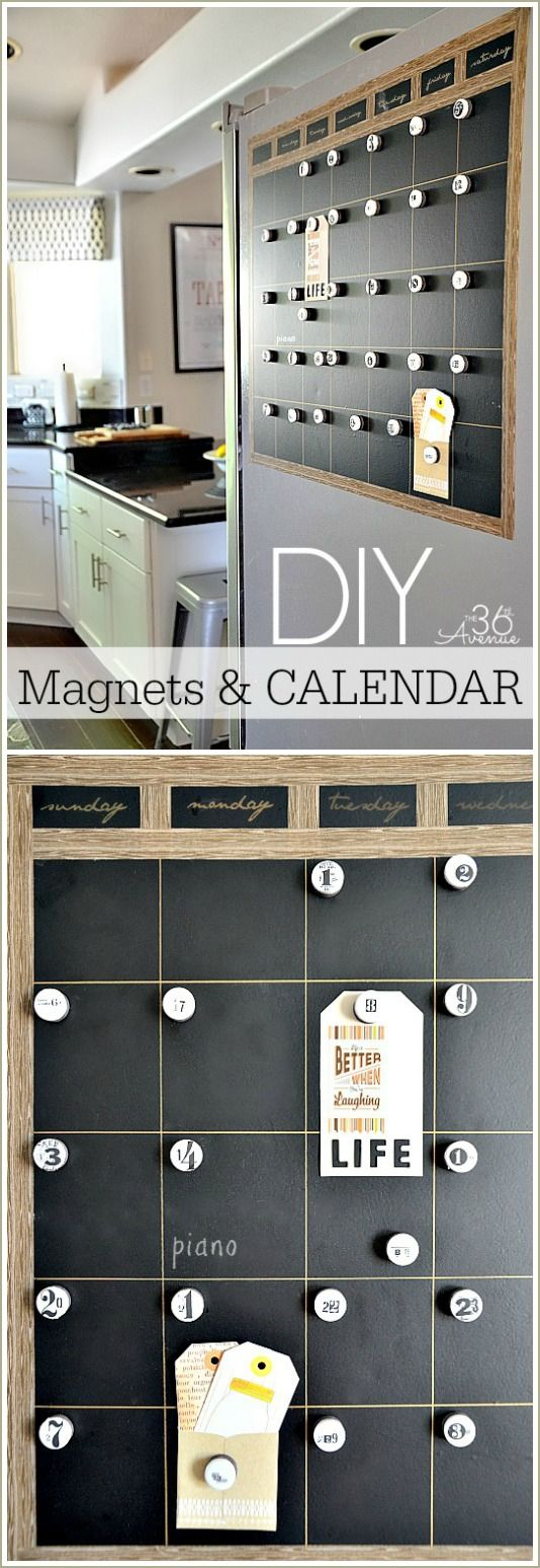 DIY Magnetic Chalkboard Calendar Tutorial #diy #crafts