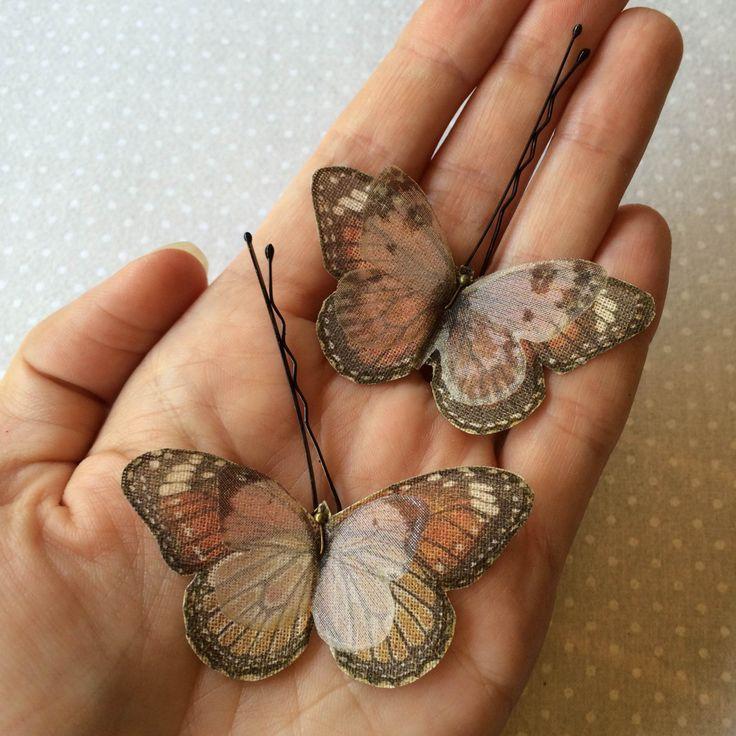Soft - Mollette per Capelli con Farfalle in Cotone Bio e Organza di Seta Rosso Arancio e Avorio - 2 pezzi by TheButterfliesShop on Etsy