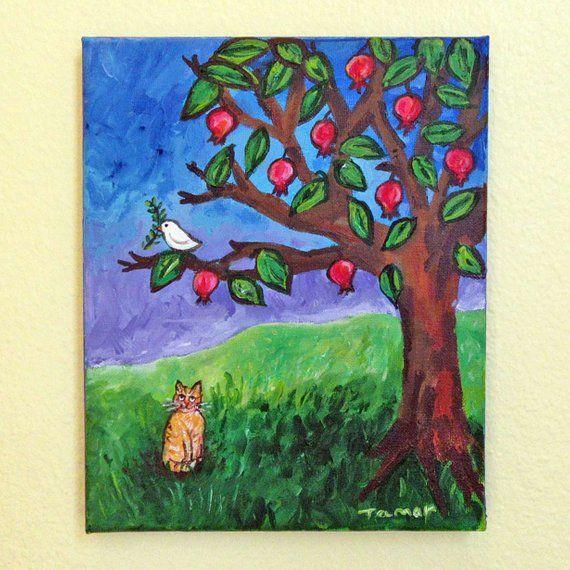 Judaica Wall Art Pomegranate Tree Shalom Artwork Jewish Art Original Cat Painting 8x10 Painting Peace Dove With Olive B Peace Art Cat Painting Peace Dove