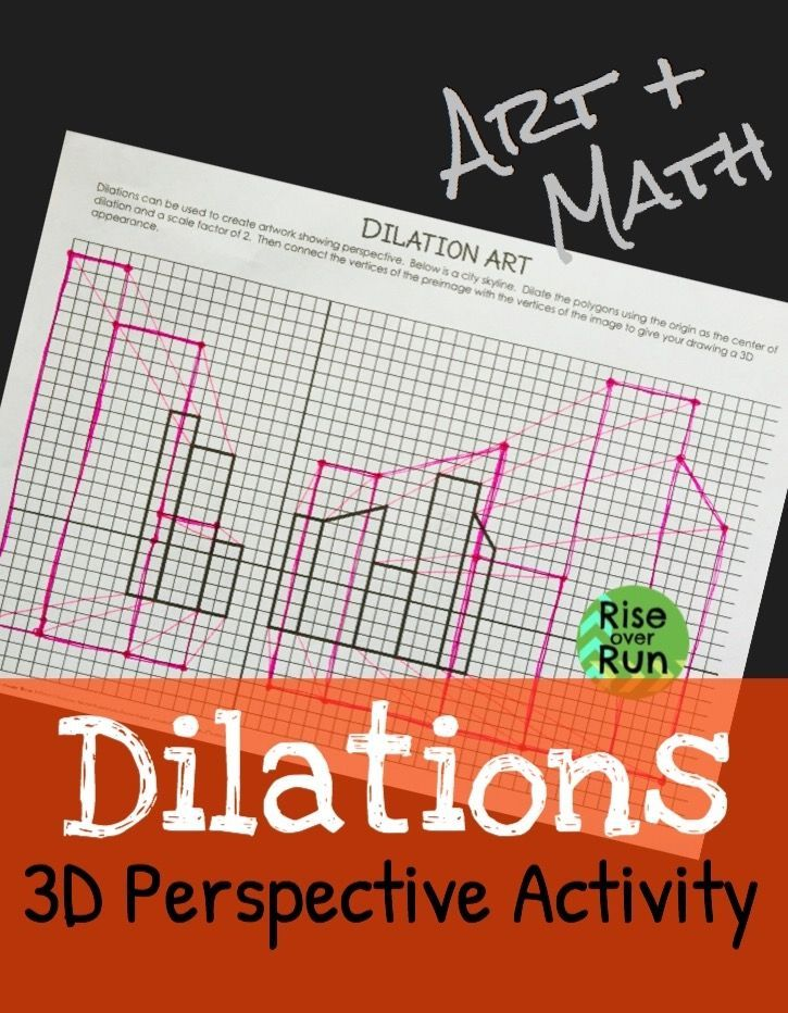 Art And Math Practice Dilations With This Fun Activity Students Dilate Drawings To Create 3d Perspective Fun And En 8th Grade Math Math Geometry High School