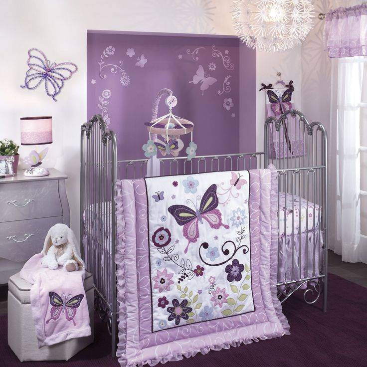 Bedroom , Cozy Purple Theme Girl Nursery Ideas : Lambs And Ivy Butterfly Lane Five Piece Crib Bedding Set For Girl Nursery Idea