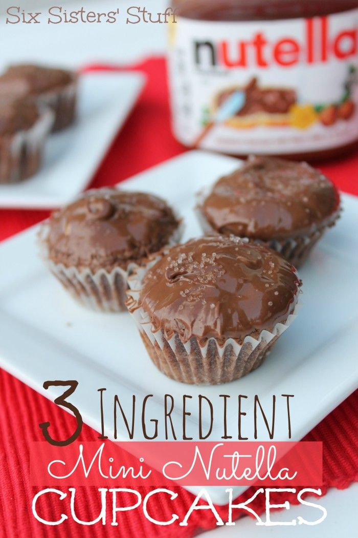 3 Ingredient Mini Nutella Cupcakes from sixsistersstuff.com #dessert #cupcakes