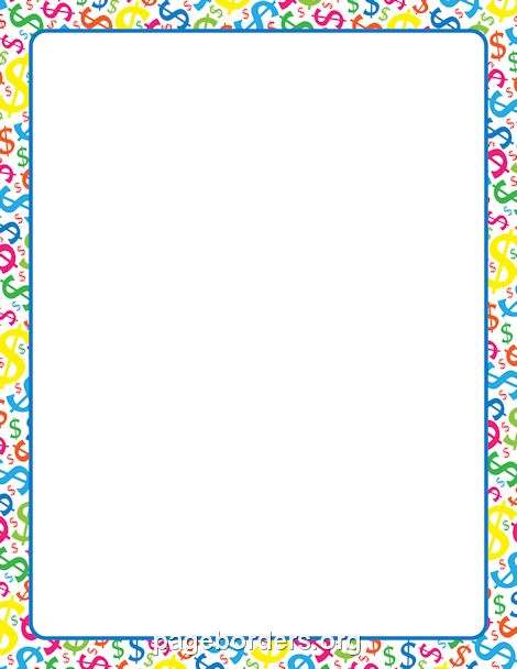Printable dollar sign border. Use the border in Microsoft Word or ...
