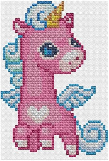 Cute Flying Unicorn Cross Stitch Pattern PDF