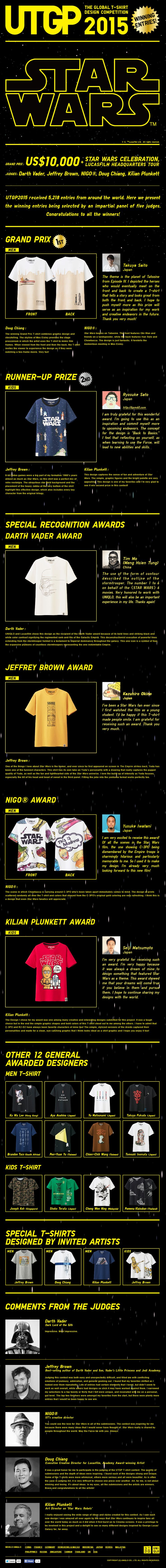 UNIQLO 2015 Star Wars T-Shirt design contest