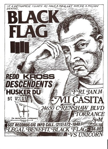 Black Flag, Redd Kross, Descendents, Husker Du , St. Vitus punk hardcore flyer