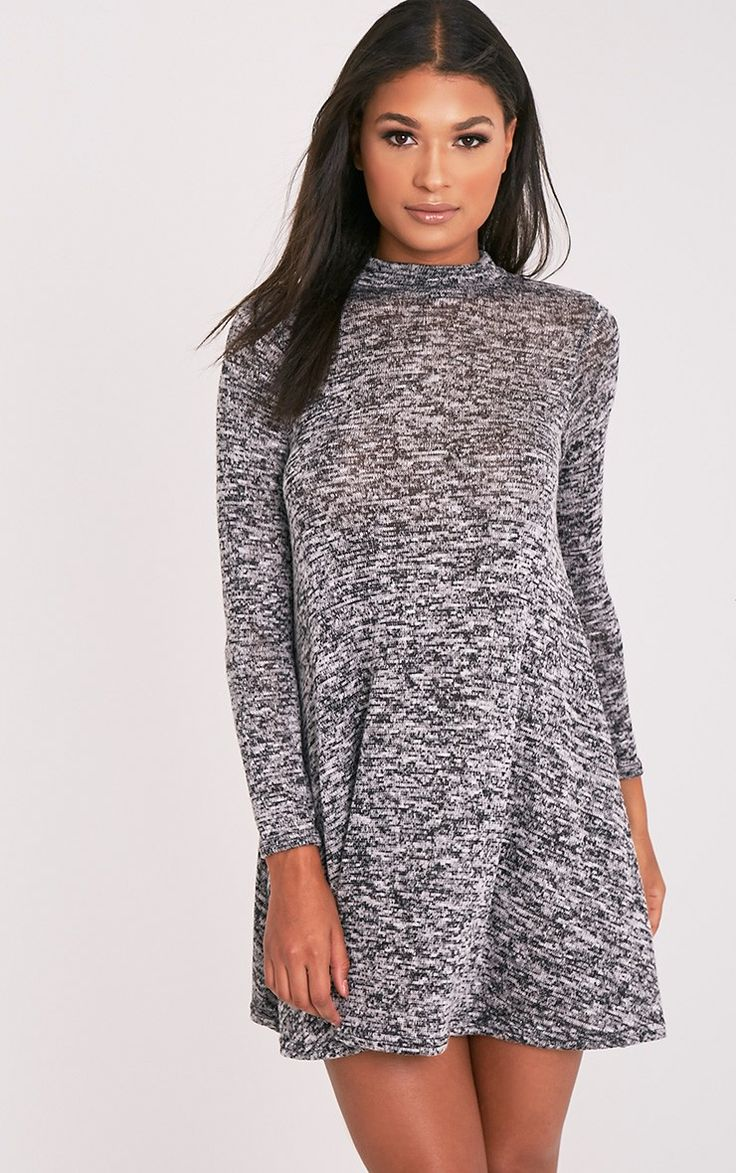 Annwyl Grey High Neck Long Sleeved Swing Dress Image 1