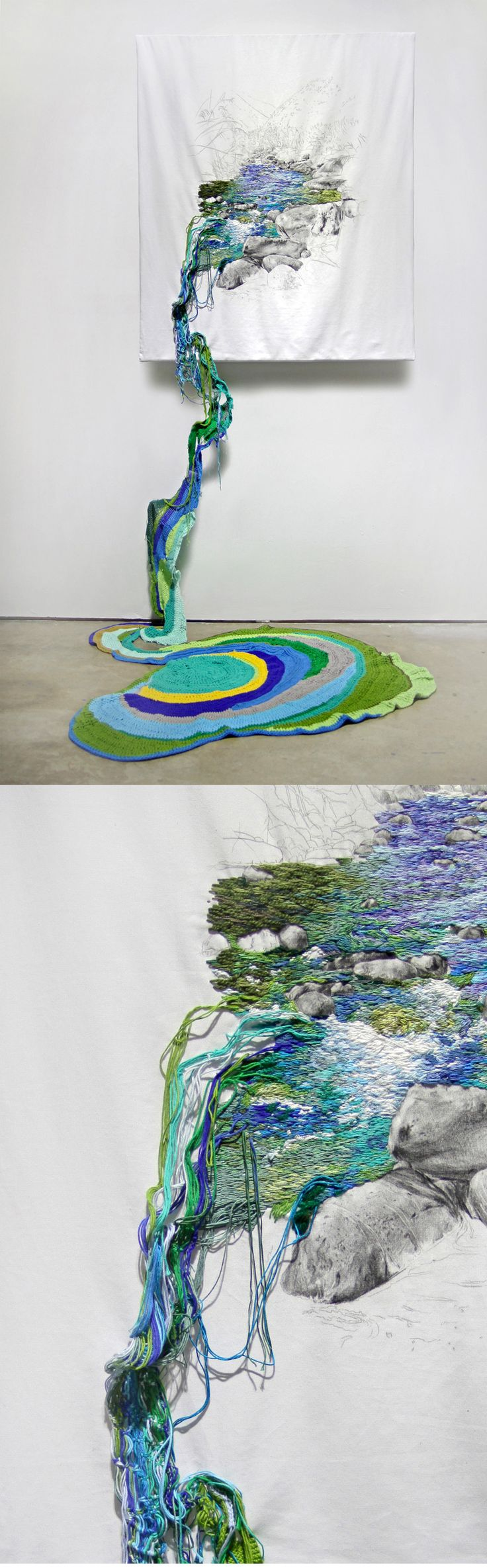 New Embroidered Landscapes That Cascade off the Wall by Ana Teresa Barboza