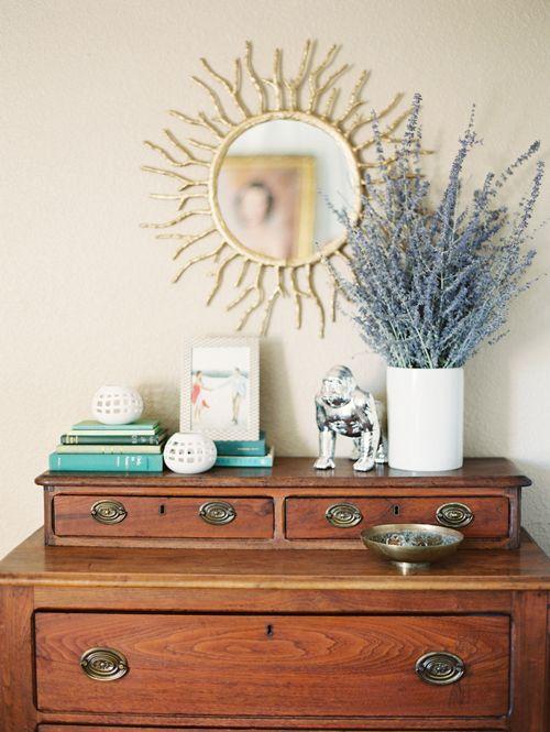 lavender and mirror vignette