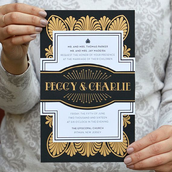 Art Deco, Gatsby 1920's Wedding Invitations, Old Hollywood Glam Wedding Invitation - Peggy Collection SAMPLE by Engaging Papers