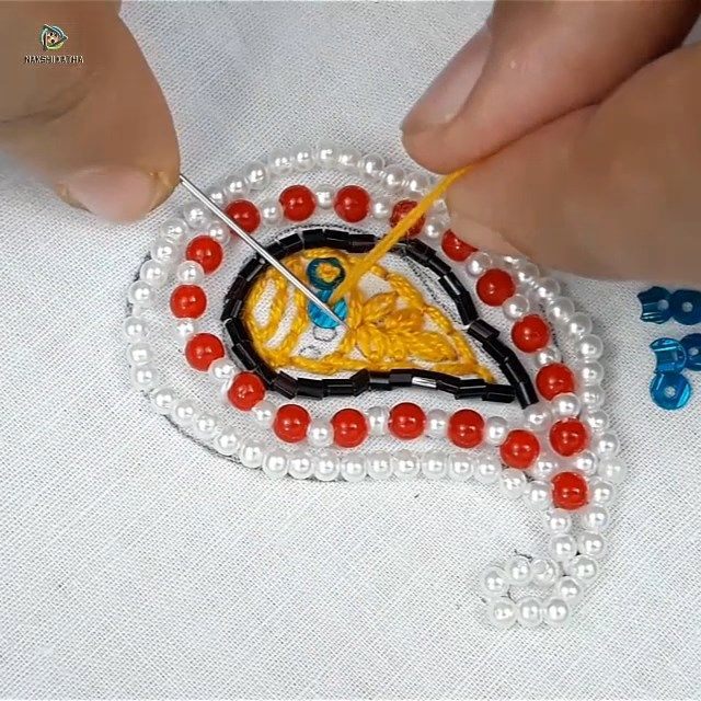Hand embroidery pearl work