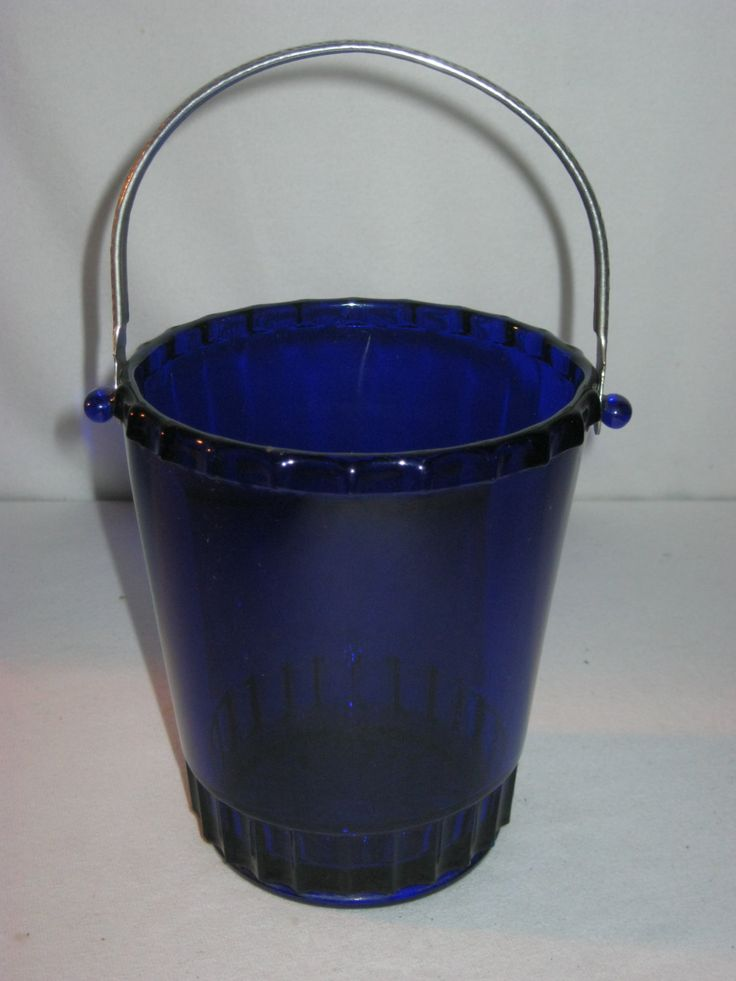 Old Cobalt Blue Glass Ice Bucket Hammered Aluminum Handle by FremarsTreasures on Etsy