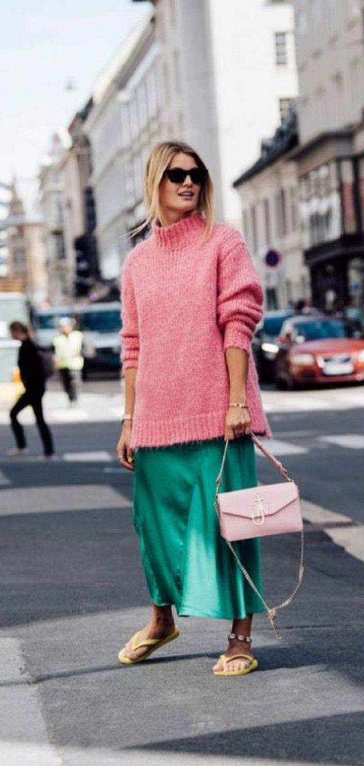 Las Faldas Midi De Seda Vienen En Colores Llamativos Esta Temporada De Calor Atuendo Moda Conjuntos De Sueter