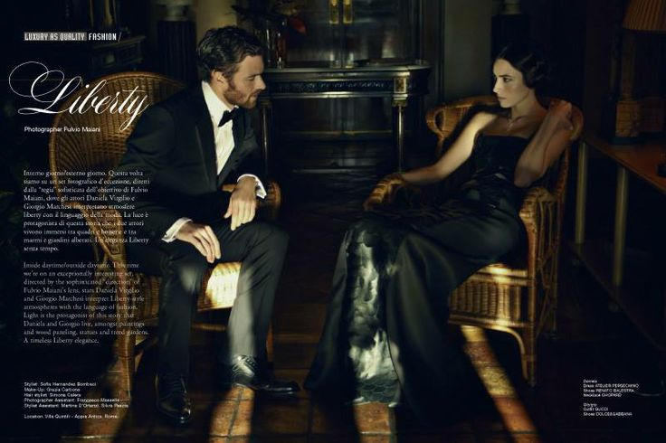 Daniela Dress Atelier Persechino Shoes Renato Balestra Necklace Chopard  Giorgio Outfit Gucci Shoes Dolce&Gabbana  flip the complete stoty @ http://www.luxuryfiles.it/en/magazine/Winter-2013-14-8
