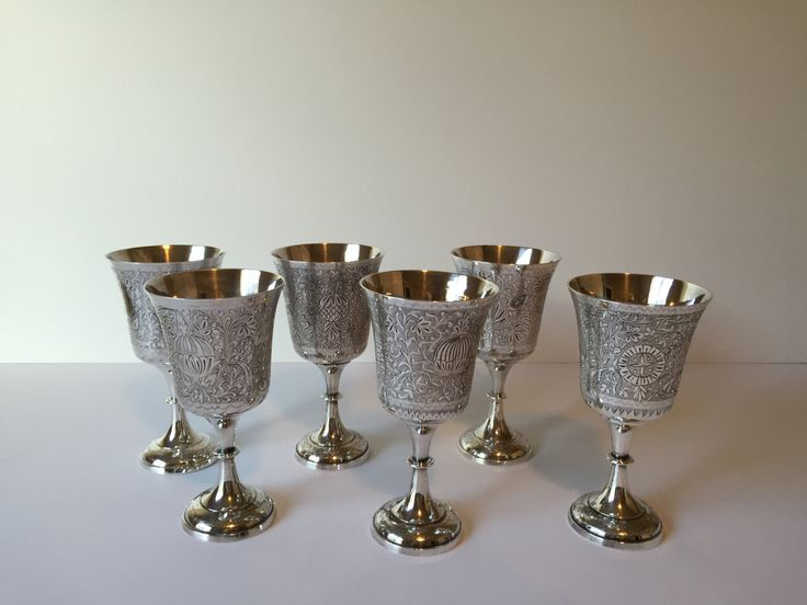 Silver Gifts For Indian Wedding: Vintage Silver Wine Glasses, Silver Plated Goblets, World