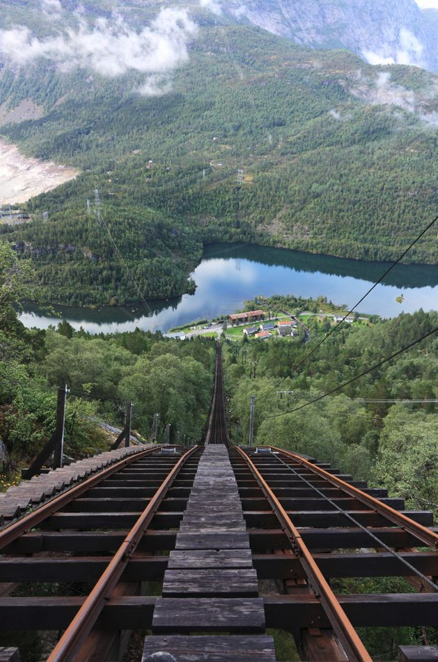 Whoa! Mågelibanen cliff railway in Odda, Hordaland, Norway.    Have to blow this up so you're eyes stop crossing!