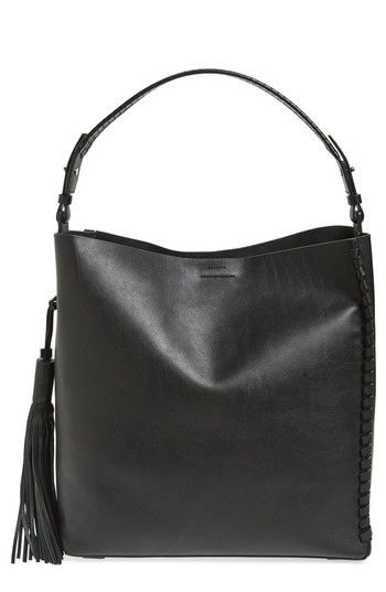 ALLSAINTS KEPI NORTH/SOUTH LEATHER TOTE - BLACK. #allsaints #bags #leather #hand bags #lace #tote #