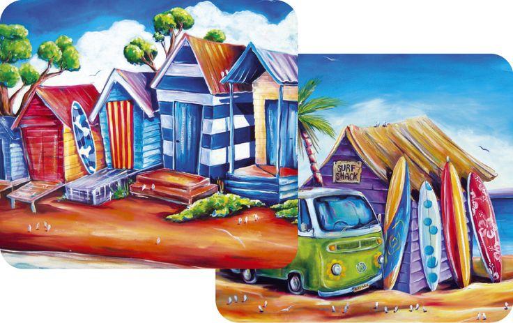 The Gecko Shack - Drink Coaster set of 2 Beach Kombi