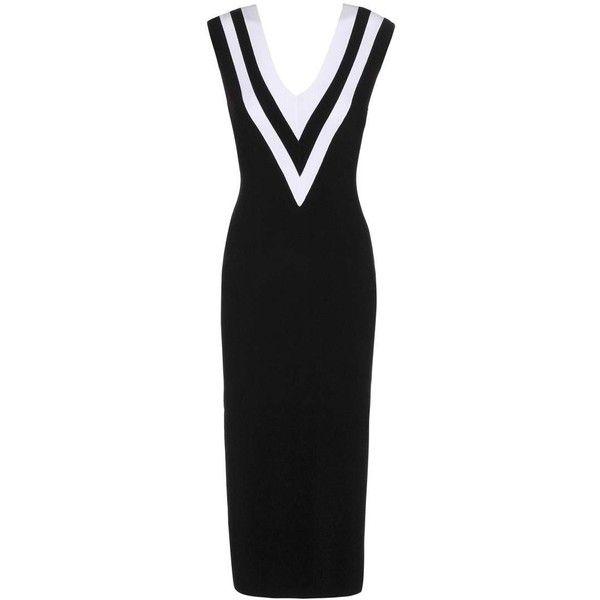 Rag & Bone Daphine Stretch-Knit Dress (£415) ❤ liked on Polyvore featuring dresses, black, midi & long, midi dress, calf length dresses, mid calf dresses, stretch knit dress and rag bone dress