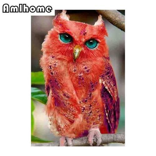 3D DIY Diamond Painting Red Owl Photo – craft kit