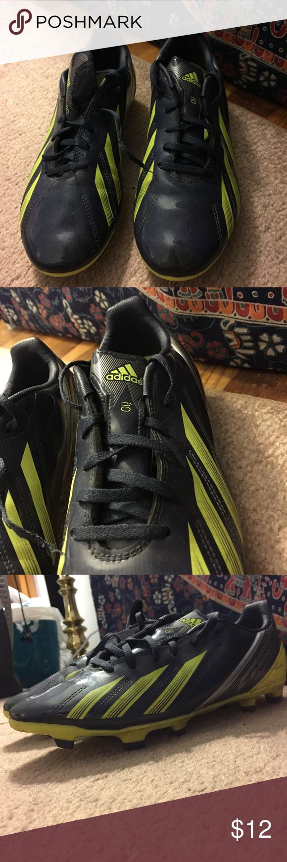F10 Male Adidas Soccer Cleats ⚽️⚽️ Barely worn, wore them to a couple practices and one or two games found out they were way too small for me. Only damage is the one lace is torn off (from vacuum cleaner) can be replaced or negotiate the price! Adidas Shoes Athletic Shoes