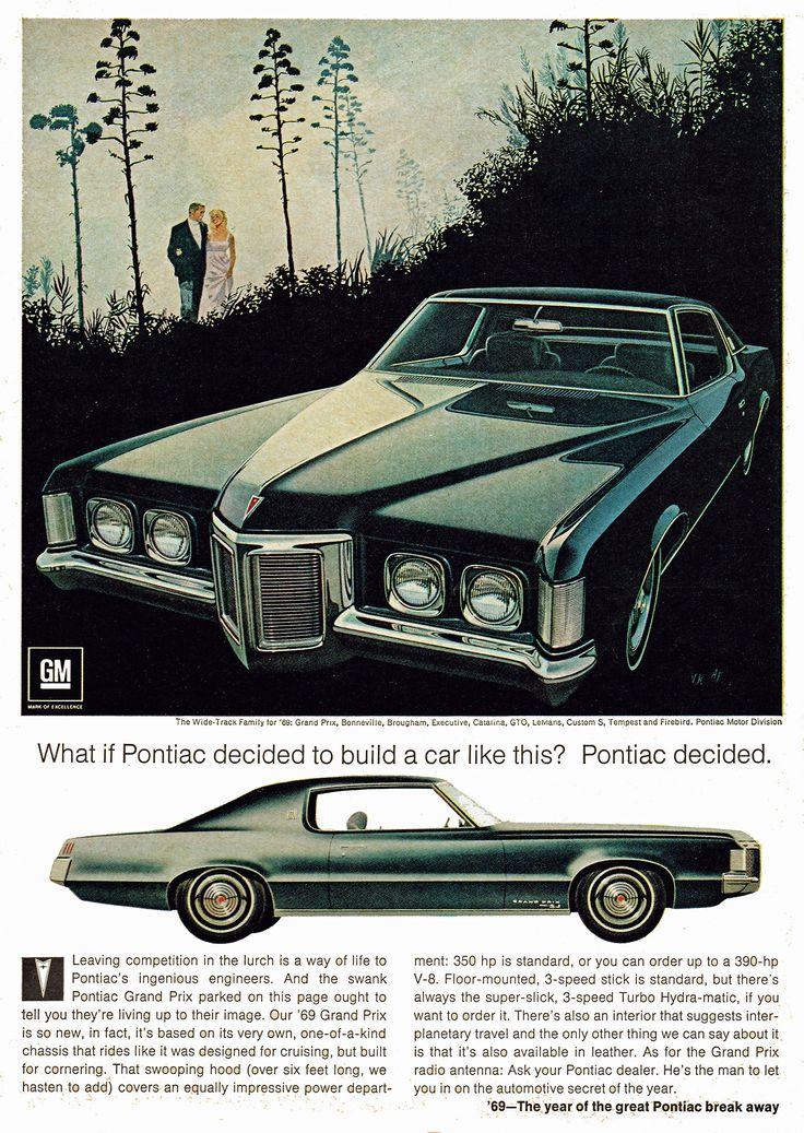 Pontiac Grand Prix, 1969; Vintage car ad.