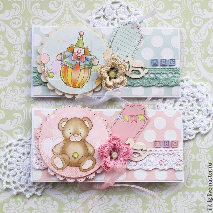 Купить малышковые конверты - бледно-розовый, нежно-голубой, Конверт для денег, конверт ручной работы