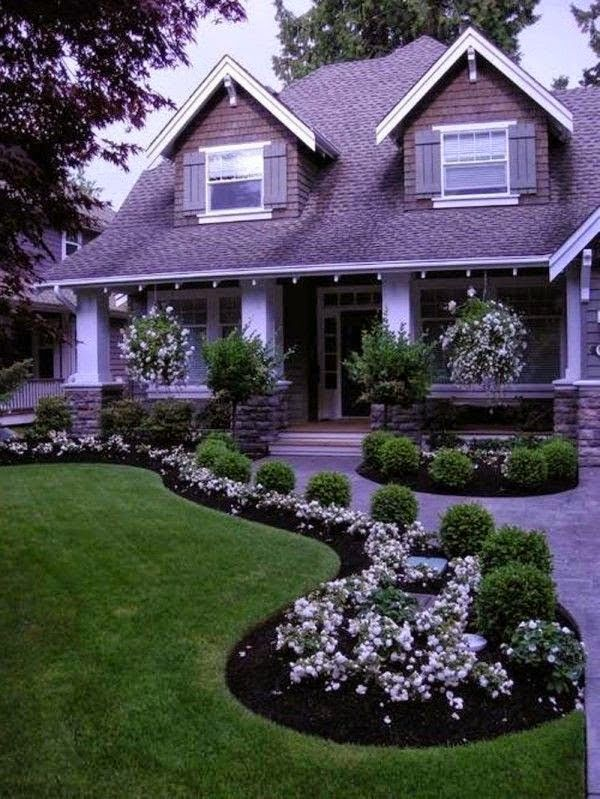 Gardening, Front Yard Landscape Design with white flower landscape design | Outdoor Areas