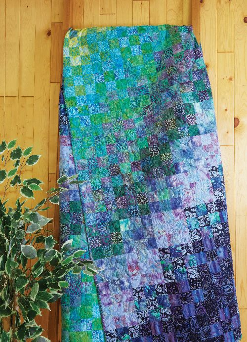 Dream in Color Quilt Kit The key to success with this easy nine-patch quilt lies in careful fabric selection to achieve a stunning gradation of color and value. This kit includes the 26 different green, blue and purple batik fabrics needed to turn the simplest of pieced blocks into a dazzling bed quilt, as well as the Dream in Color pattern with clear instructions and charts showing correct fabric placement.