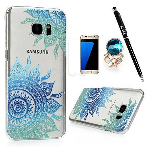 Samsung Galaxy S7 Edge Case Clear Colorful Case Cute Gradient Blue Totem Flowers Design Ultra Slim-Fit Easy Makeup PC Bumper Cover & HD Screen Protector Diamond Dust Plug Stylus Pen by Badalink