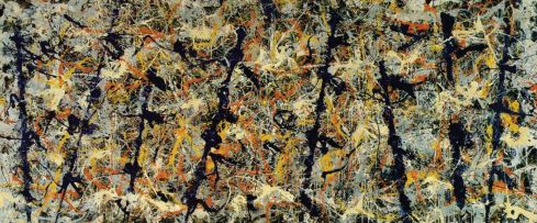 Expressionismo Abstrato – Action Painting (Pintura de Ação) e Color Field Painting (Pintura de Campo de Cor)  Monstros azuis: número 11 (1952), de Jackson Pollock, óleo, esmalte e tinta de alumínio com fragmentos de vidro sobre tela (2,18 m x 4,88 m)