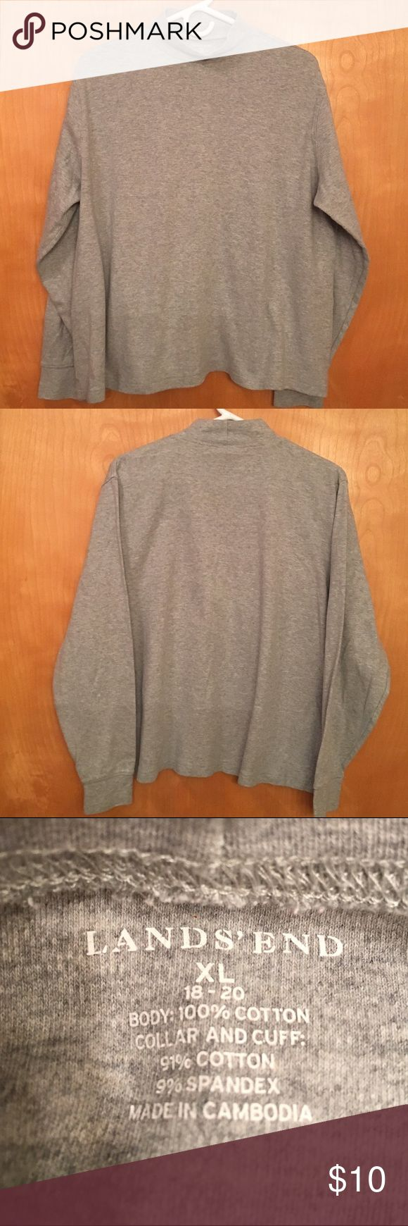 "LANDS END LIGHT GRAY MOCK TURTLENECK 🌺....JUST IN TIME FOR WINTER....VERY NICE CONDITION....LANDS END LIGHT GRAY MOCK TURTLENECK WITH LONG SLEEVES.  The body is 100% cotton and the collar and cuff are 91 % cotton - 9 % spandex.  XL (18-20).  Measurements:  chest 26"", length 24"" and sleeve length 19"".  Details:  machine wash warm normal.  Tumble dry low.  VERY NICE CONDITION!!  COZY and WARM.  Stored in a smoke free home! Lands End Tops"