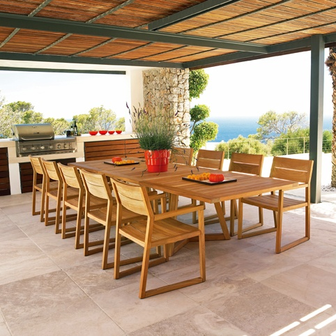 Teak outdoor dining. Perfect for the porch, deck or patio!