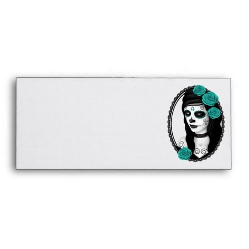 Oval Day of the Dead Girl with Teal Roses Envelopes