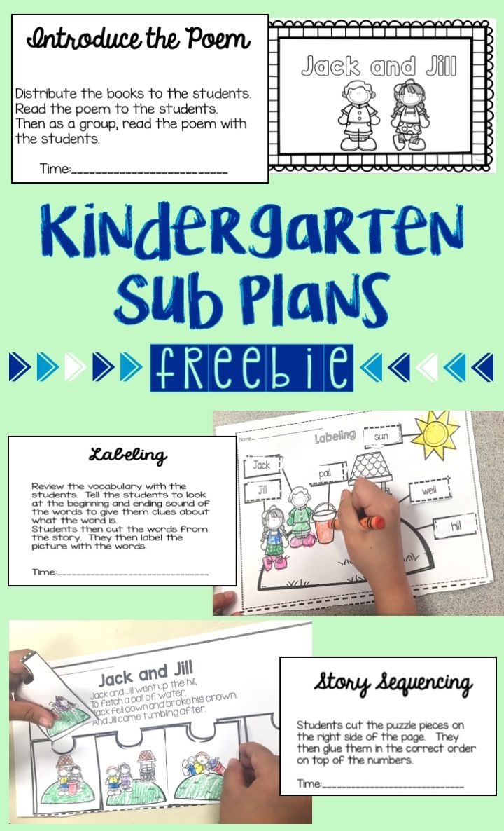 Kindergarten Emergency Sub Plans Freebie.  Directions and activities including an emergent reader, labeling activity and sequencing.  Works great for a half day sub!