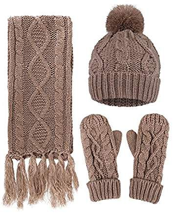 ANDORRA 3 in 1 Women Soft Warm Thick Cable Knitted Hat Scarf   Gloves  Winter Set e4df5a533141