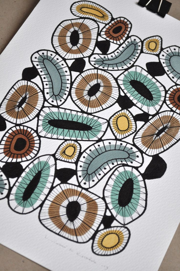 Organic pattern in petrol and different shades of brown by Linnéa N Kolbäck