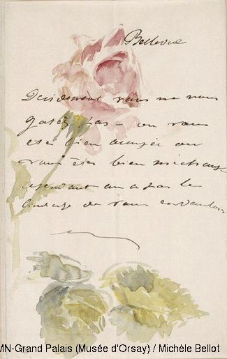 ♕ Edouard Manet (1832-1883) Signed letter to Isabelle Lemonnier, known as Letters to Isabelle: rose in bud 1880 Watercolour Paris, Musée d'Orsay
