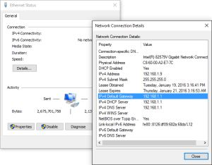 What is My Default Gateway IP Address?: Default Gateway via Network Connection Details (Windows 10)