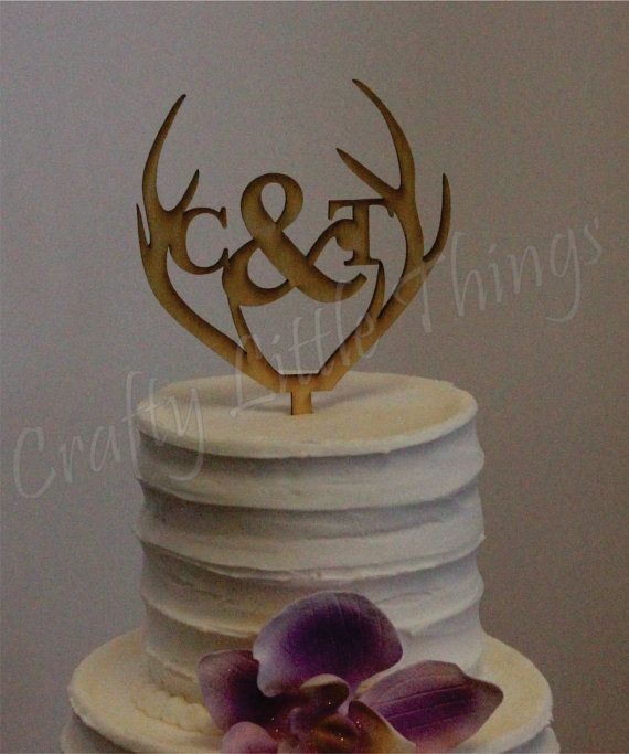 Antler Personalized Wooden Monogram Rustic Wedding Cake Topper