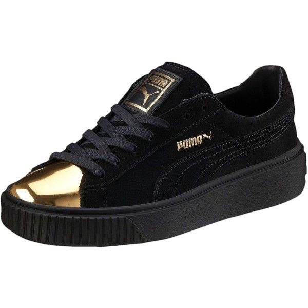 Puma Suede Platform Gold Women's Sneakers ($100) ❤ liked on Polyvore featuring shoes, sneakers, high platform sneakers, gold caps, metallic sneakers, puma shoes and sports trainer