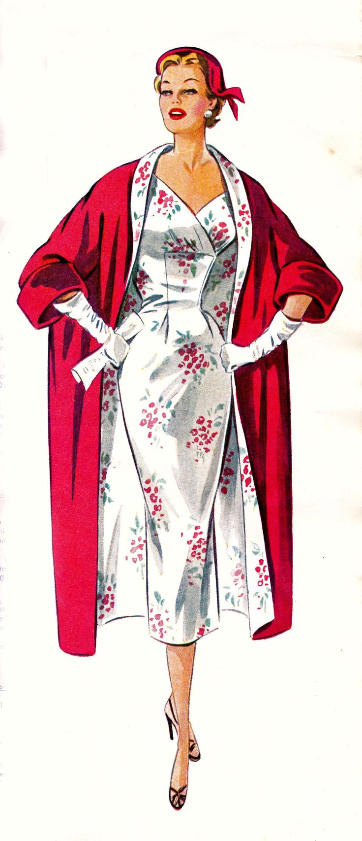 Vintage Sewing Pattern Evening coat is perfect in red peau de soie or bridal satin. Dress is perfected in a printed floral silk.                                                                                                                                                      More