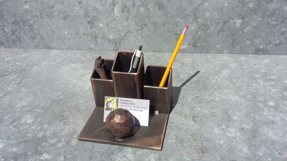 welded steel desk organizer with hammered solid ball by freshweld