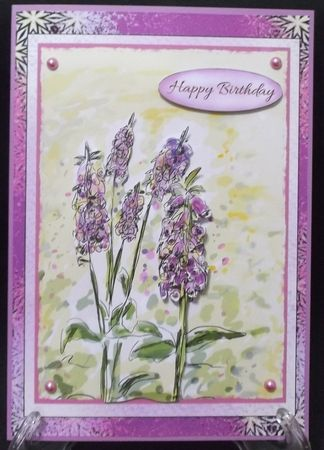 """Suzy Cooper, who completed this make says, """"I printed onto matte photo card then mounted onto my card blank using DST. I added the decoupage using 2mm foam pads."""""""