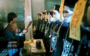 Burning incense for the jiāngshī, at the start of Mr. Vampire.