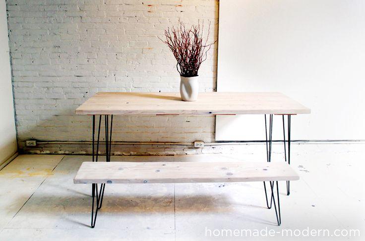 Table à manger et banc avec des pieds hairpin legs pour une ambiance scandinave