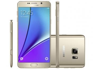 "Smartphone Samsung Galaxy Note 5 32GB Dourado 4G - Câm. 16MP + Selfie 5MP Tela 5.7"" Quad HD Octa Core"